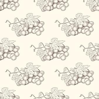Hand getrokken druivenbossen en bladeren naadloos patroon.