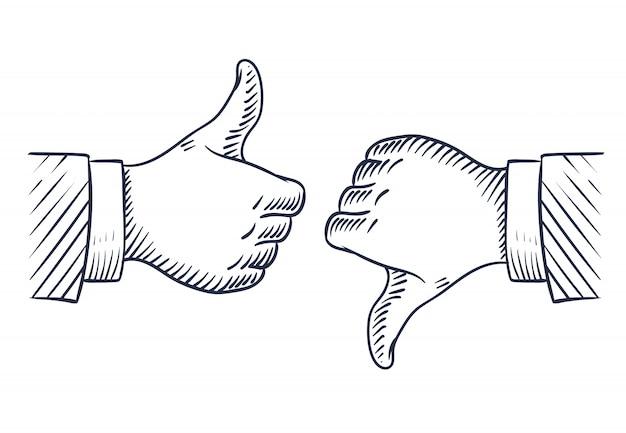 Hand getrokken duimen omhoog en omlaag.