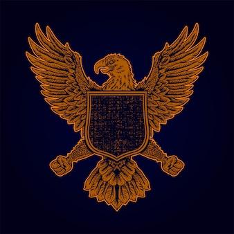 Hand getrokken eagle badge
