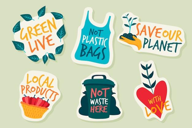 Hand getrokken ecologie badges en stickers