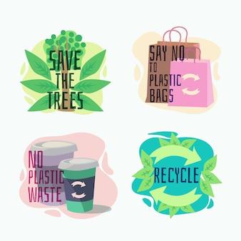 Hand getrokken ecologie badges met gerecyclede tassen