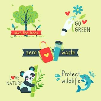 Hand getrokken ecologie badges met nul afval hand getrokken ecologie badges
