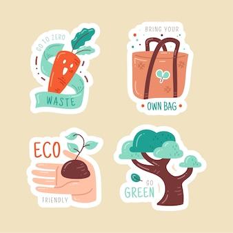 Hand getrokken ecologie badges pack