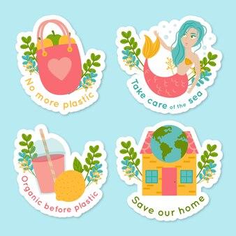 Hand getrokken ecologie badges set