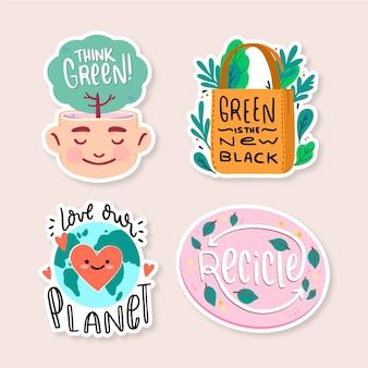 Hand getrokken ecologie badges voor een betere wereld