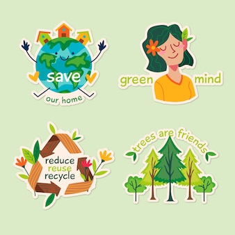 Hand getrokken ecologie badges