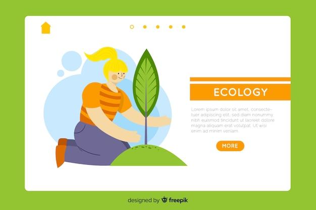 Hand getrokken ecologie bestemmingspagina sjabloon