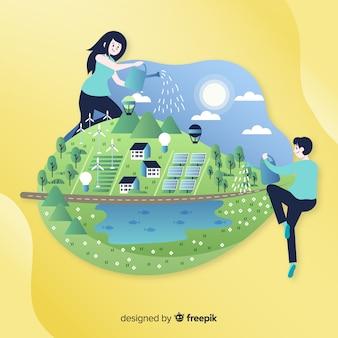 Hand getrokken ecologieconcept met natuurlijke elementen