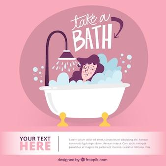 Hand getrokken een bad nemen illustratie