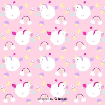 Hand getrokken eenhoorn fantasie patroon