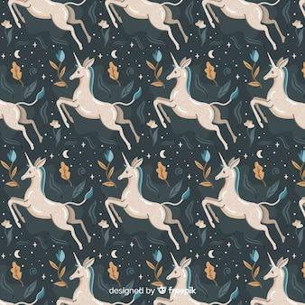Hand getrokken eenhoorn patroon