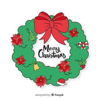 Hand getrokken eenvoudige kerst krans