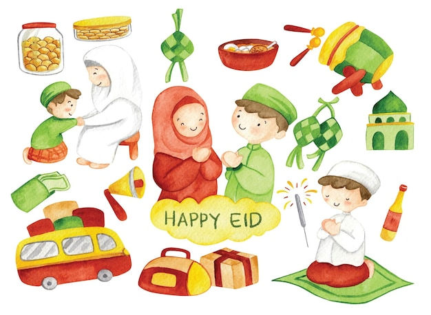 Hand getrokken eid mubarak of idul fitri doodle illustraties in aquarel illustratie