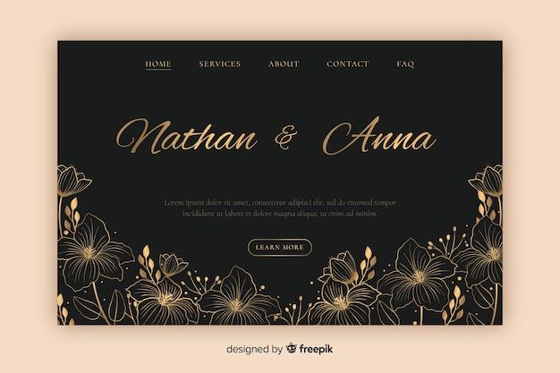 Hand getrokken elegante bruiloft bestemmingspagina sjabloon
