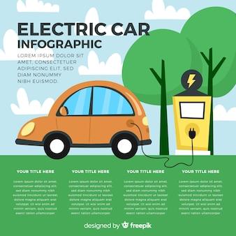 Hand getrokken elektrische auto infographic Gratis Vector