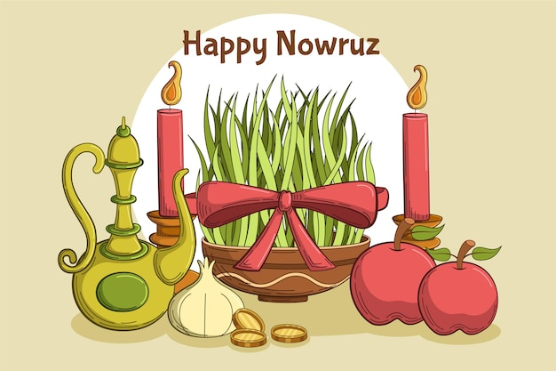 Hand getrokken elementen illustraties happy nowruz