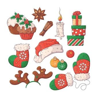 Hand getrokken elementen kerstcollectie
