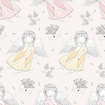 Hand getrokken engelen naadloos patroon
