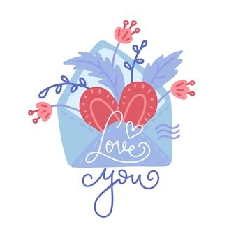 Hand getrokken envelop, met hart, bloemen en belettering love you