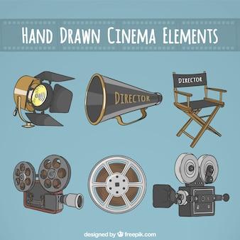 Hand getrokken essentiële elementen voor een bioscoop directeur
