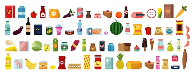 Hand getrokken eten en drinken doodles set. verzameling van kleurrijke cartoon stijl tekening schetst sjablonen van maaltijd fruit groenten in rauw op witte achtergrond. gezonde voeding junkfood illustratie.