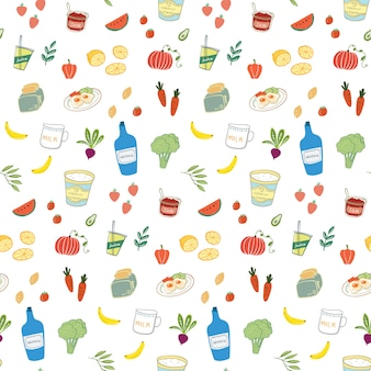 Hand getrokken eten en drinken naadloze patroon