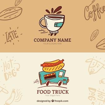 Hand getrokken eten truck en koffie banners