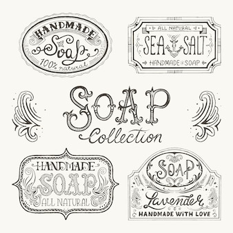 Hand getrokken etiketten en patronen voor handgemaakte zeep bars.