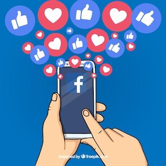 Hand getrokken facebook achtergrond met mobiele telefoon