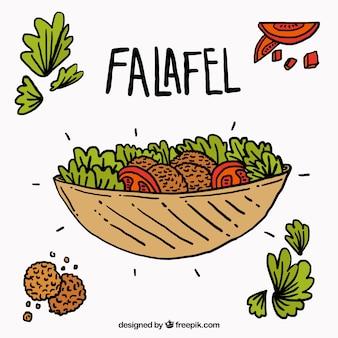 Hand getrokken falafel met ingrediënten