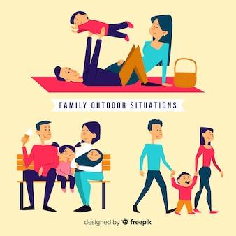 Hand getrokken familie buiten situaties pack