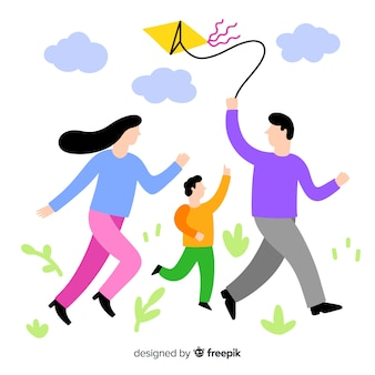 Hand getrokken familie die een vliegerillustratie vliegt