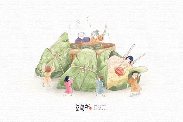 Hand getrokken familie die en zongzi voorbereidt eet