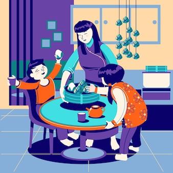 Hand getrokken familie die zongzi eet