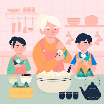 Hand getrokken familie die zongzi voorbereidt