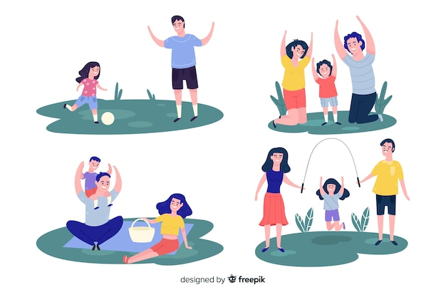 Hand getrokken familie in de parkcollectie