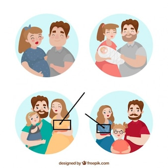 Hand getrokken familie in verschillende levensstadia
