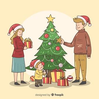 Hand getrokken familie kerst achtergrond