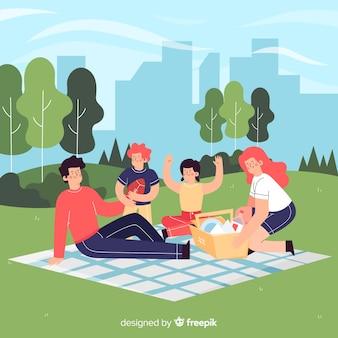 Hand getrokken familie outdoor activiteit