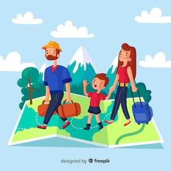 Hand getrokken familie reizende achtergrond