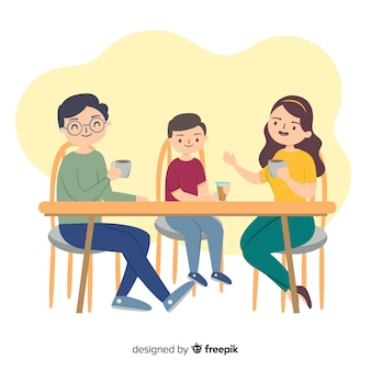 Hand getrokken familie rond de tafel