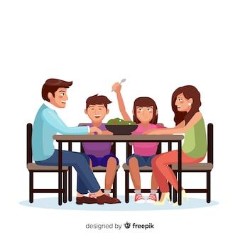 Hand getrokken familiezitting rond lijstillustratie