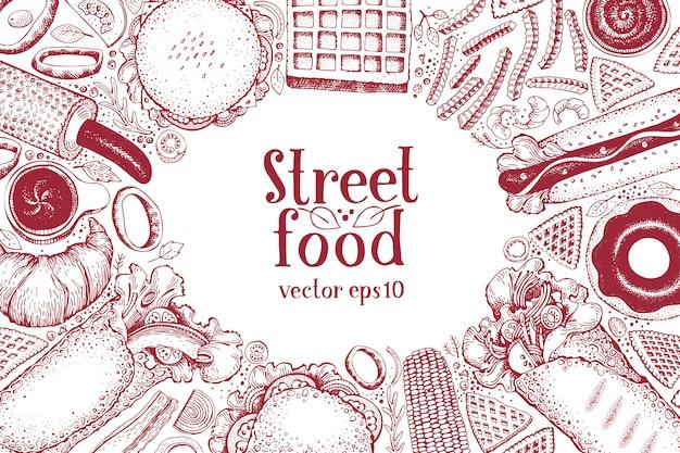 Hand getrokken fastfood-banner. achtergrond van de het voedsel de hoogste mening van de straat. Premium Vector