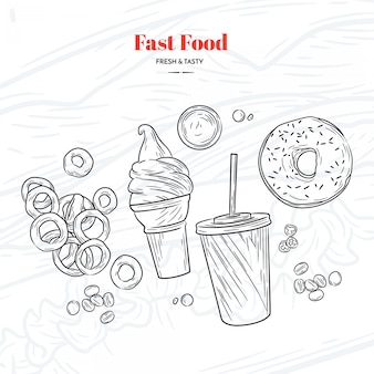 Hand getrokken fastfood-elementen
