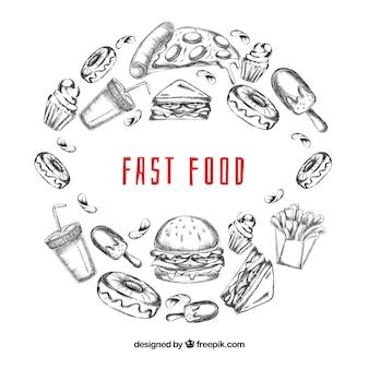 Hand getrokken fastfood-frame