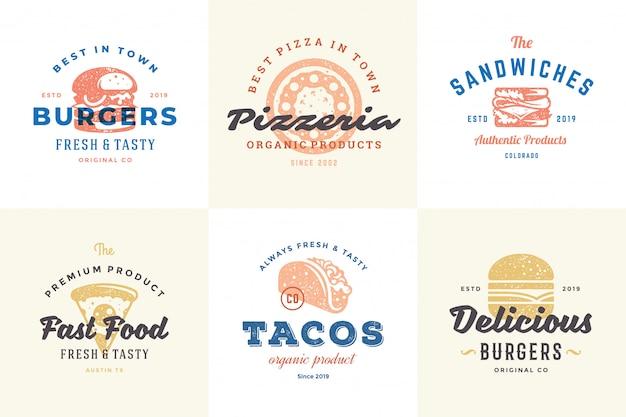 Hand getrokken fastfoodemblemen en etiketten met moderne uitstekende typografie retro stijl vastgestelde vectorillustratie.