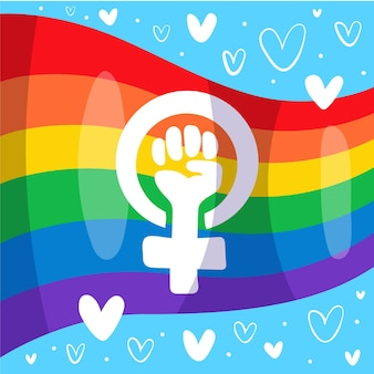 Hand getrokken feministische en lgbt-vlag