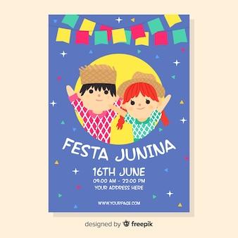 Hand getrokken festa junina flyer-sjabloon