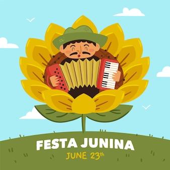 Hand getrokken festa junina geïllustreerd