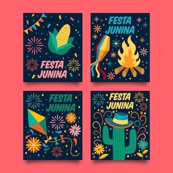 Hand getrokken festa junina kaartcollectie sjabloon
